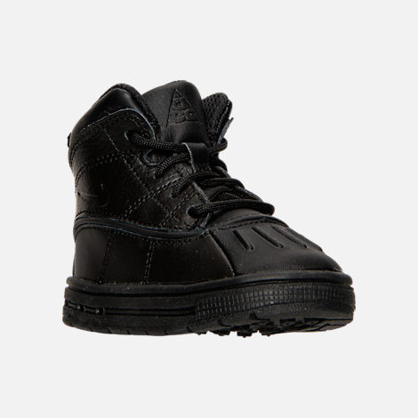 Three Quarter view of Boys' Toddler Nike Woodside 2 High Boots in Black