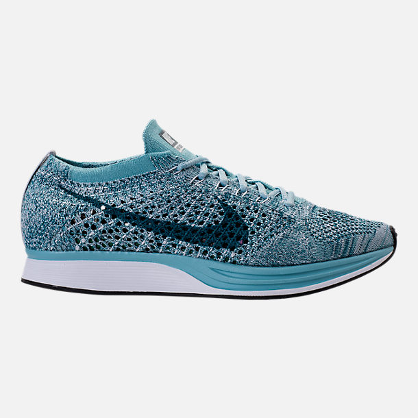 Right view of Unisex Nike Flyknit Racer Running Shoes in White/Legion  Blue/Mica