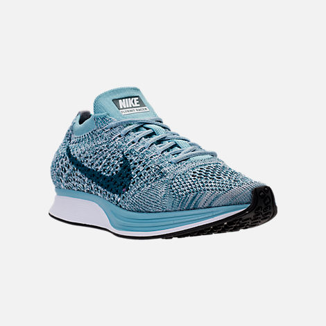 Three Quarter view of Unisex Nike Flyknit Racer Running Shoes in  White/Legion Blue/