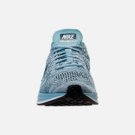 Front view of Unisex Nike Flyknit Racer Running Shoes in White/Legion Blue/Mica Blue