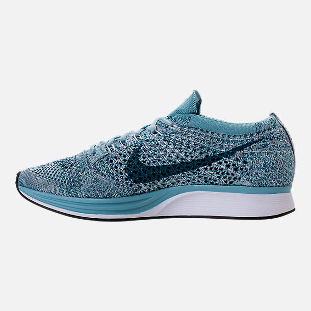 Left view of Unisex Nike Flyknit Racer Running Shoes in White/Legion Blue/Mica Blue