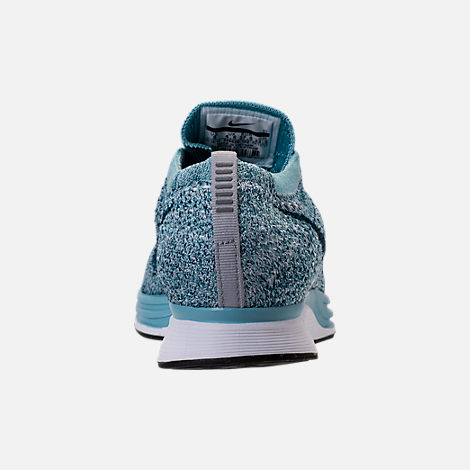 Back view of Unisex Nike Flyknit Racer Running Shoes in White/Legion Blue/Mica Blue
