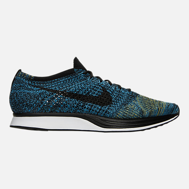 Right view of Unisex Nike Flyknit Racer Running Shoes in Blue  Glow/Black/Yellow