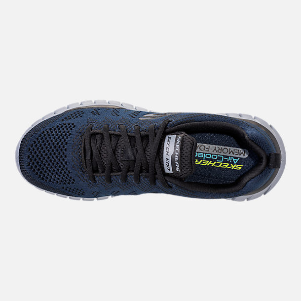 Top view of Men's Skechers Overhaul - Debbir Running Shoes in Navy/Black