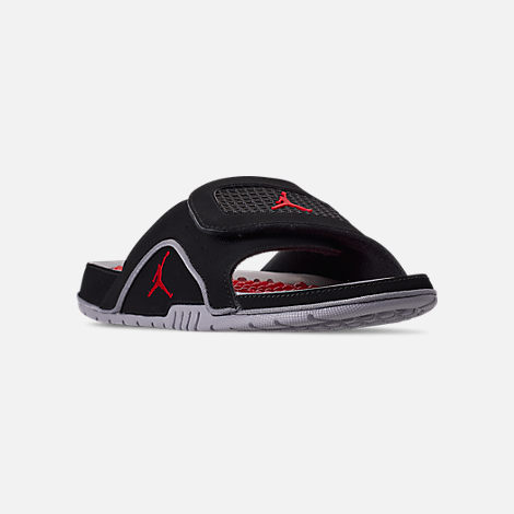 f18a311264a8 Three Quarter view of Men s Jordan Hydro 4 Retro Slide Sandals in Black Fire  Red