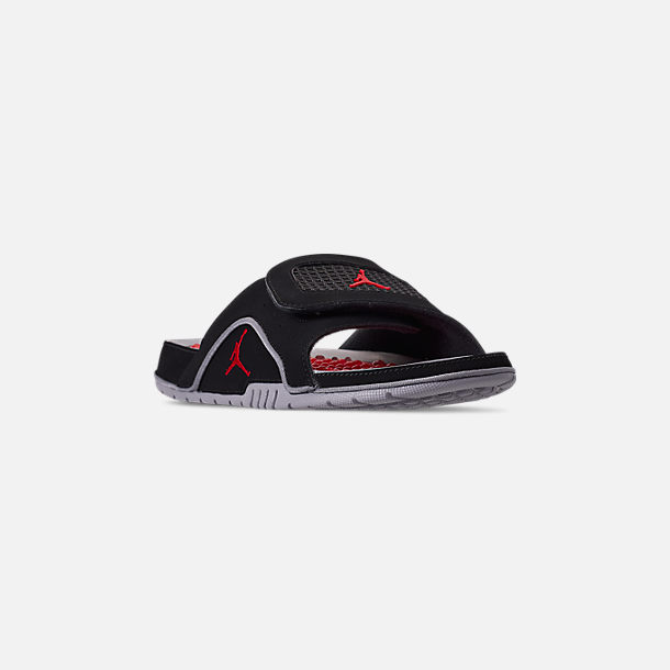 Three Quarter view of Men's Jordan Hydro 4 Retro Slide Sandals in Black/Fire Red/Cement Grey