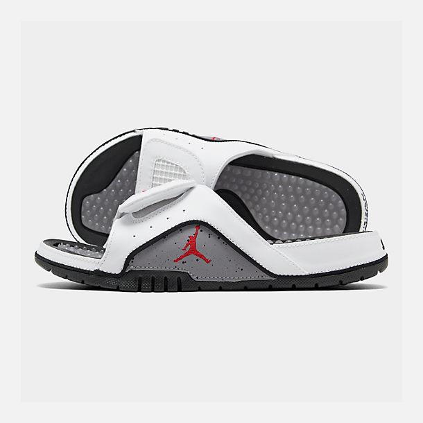 hot sale online 10ec9 53172 Right view of Men s Jordan Hydro 4 Retro Slide Sandals in White Fire Red