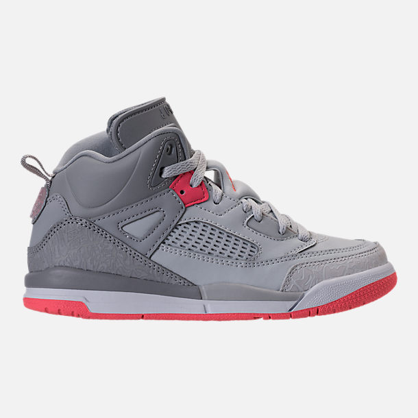 Right view of Girls' Preschool Jordan Spizike Basketball Shoes in Wolf Grey/Sunblush/Pure Platinum