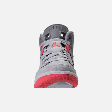 Front view of Girls' Preschool Jordan Spizike Basketball Shoes in Wolf Grey/Sunblush/Pure Platinum