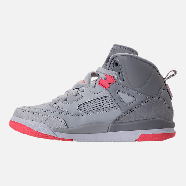 Left view of Girls' Preschool Jordan Spizike Basketball Shoes in Wolf Grey/Sunblush/Pure Platinum