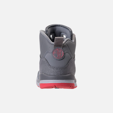 Back view of Girls' Preschool Jordan Spizike Basketball Shoes in Wolf Grey/Sunblush/Pure Platinum