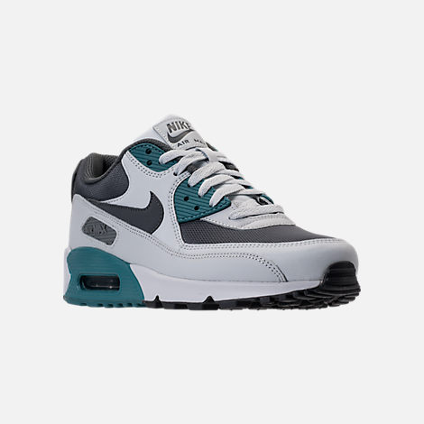 Three Quarter view of Men's Nike Air Max 90 Essential Running Shoes in Pure Platinum/Cool Grey/Noise