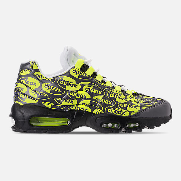 Right view of Men's Nike Air Max 95 Premium Running Shoes in Black/Volt/Ash White