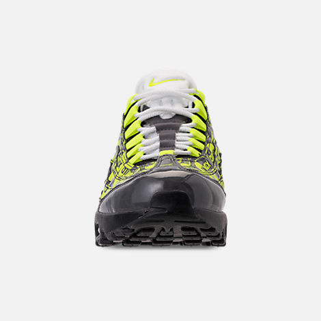 Front view of Men's Nike Air Max 95 Premium Running Shoes in Black/Volt/Ash White