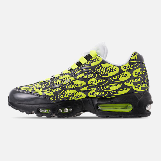 Left view of Men's Nike Air Max 95 Premium Running Shoes in Black/Volt/Ash White