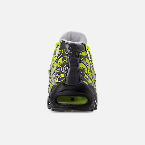Back view of Men's Nike Air Max 95 Premium Running Shoes in Black/Volt/Ash White