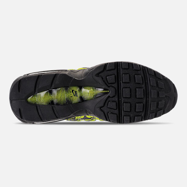 Bottom view of Men's Nike Air Max 95 Premium Running Shoes in Black/Volt/Ash White