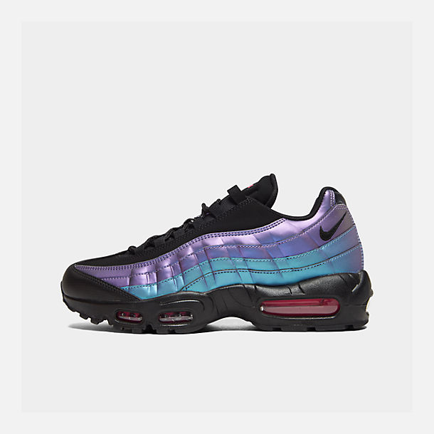 Right view of Men's Nike Air Max 95 Premium Casual Shoes in Black/Black/Laser Fuchsia