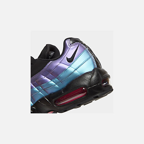 Front view of Men's Nike Air Max 95 Premium Casual Shoes in Black/Black/Laser Fuchsia