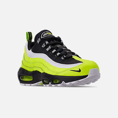 Three Quarter view of Men's Nike Air Max 95 Premium Casual Shoes in Volt/Black/Glow/Barely Volt