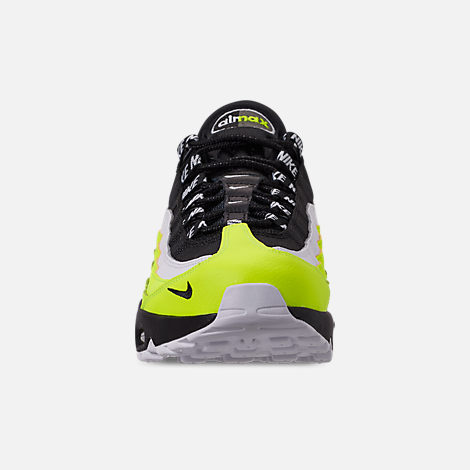Front view of Men's Nike Air Max 95 Premium Casual Shoes in Volt/Black/Glow/Barely Volt