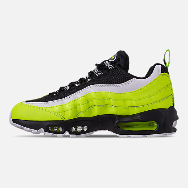 Left view of Men's Nike Air Max 95 Premium Casual Shoes in Volt/Black/Glow/Barely Volt