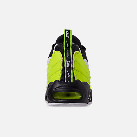 Back view of Men's Nike Air Max 95 Premium Casual Shoes in Volt/Black/Glow/Barely Volt