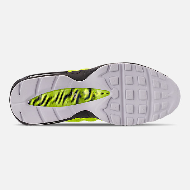 Bottom view of Men's Nike Air Max 95 Premium Casual Shoes in Volt/Black/Glow/Barely Volt