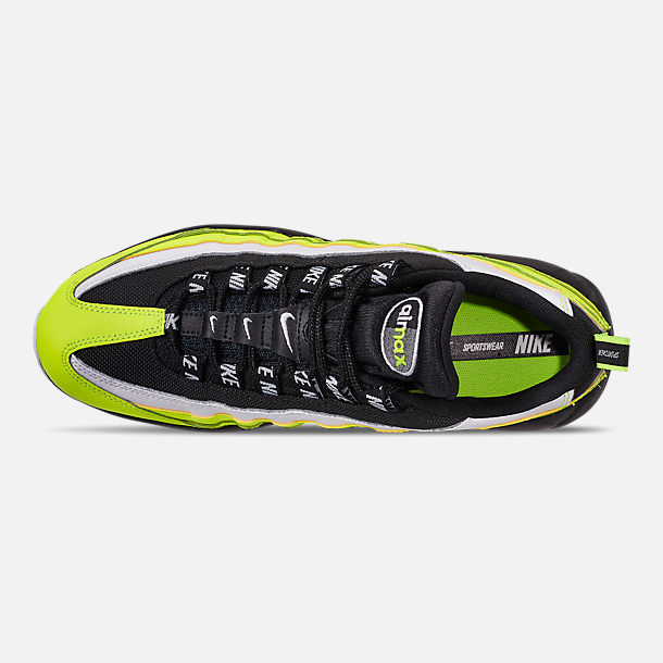 Top view of Men's Nike Air Max 95 Premium Casual Shoes in Volt/Black/Glow/Barely Volt