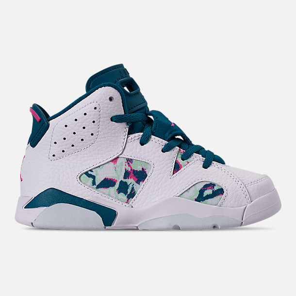 Right view of Girls' Little Kids' Air Jordan Retro 6 Basketball Shoes in White/Laser Fuchsia/Green Abyss