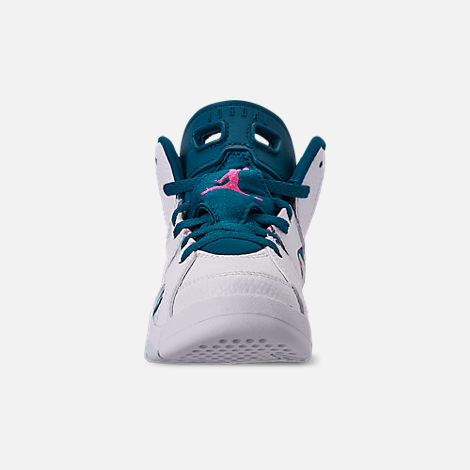 Front view of Girls' Little Kids' Air Jordan Retro 6 Basketball Shoes in White/Laser Fuchsia/Green Abyss
