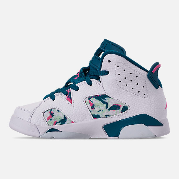 Left view of Girls' Little Kids' Air Jordan Retro 6 Basketball Shoes in White/Laser Fuchsia/Green Abyss