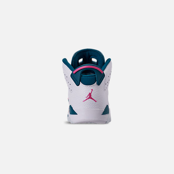 Back view of Girls' Little Kids' Air Jordan Retro 6 Basketball Shoes in White/Laser Fuchsia/Green Abyss
