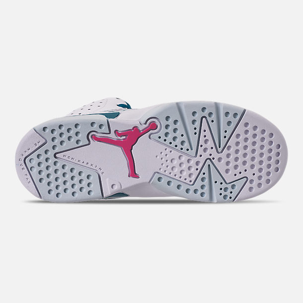 Bottom view of Girls' Little Kids' Air Jordan Retro 6 Basketball Shoes in White/Laser Fuchsia/Green Abyss