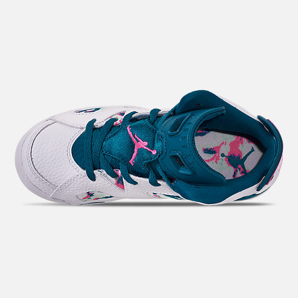 Top view of Girls' Little Kids' Air Jordan Retro 6 Basketball Shoes in White/Laser Fuchsia/Green Abyss