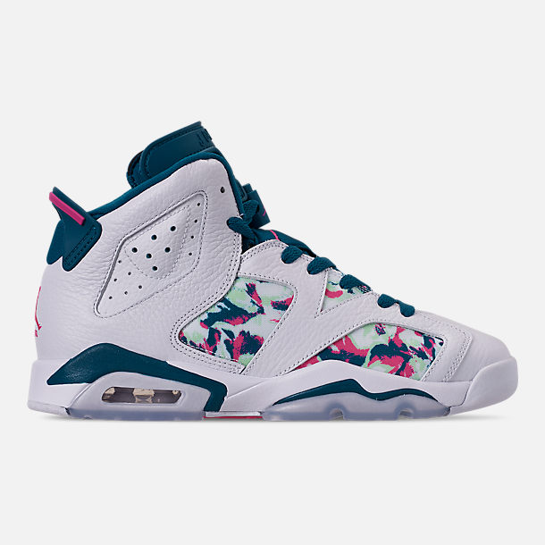 b57636c106f Right view of Girls  Big Kids  Air Jordan Retro 6 Basketball Shoes in White