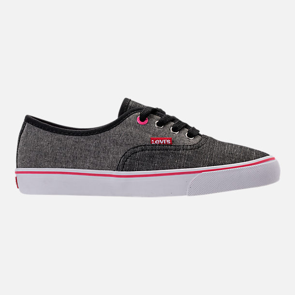 Right view of Girls' Preschool Levi's Monterey Chambray 2 Tone Casual Shoes in Black/Charcoal/Fuchsia