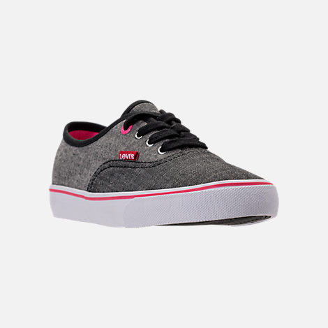 Three Quarter view of Girls' Preschool Levi's Monterey Chambray 2 Tone Casual Shoes in Black/Charcoal/Fuchsia
