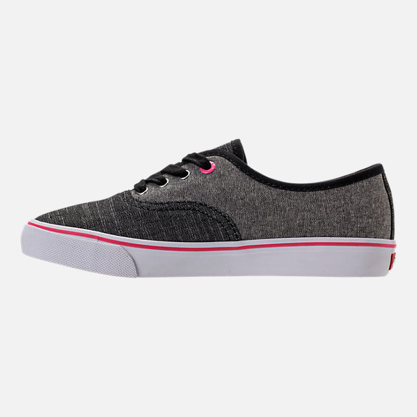 Left view of Girls' Preschool Levi's Monterey Chambray 2 Tone Casual Shoes in Black/Charcoal/Fuchsia