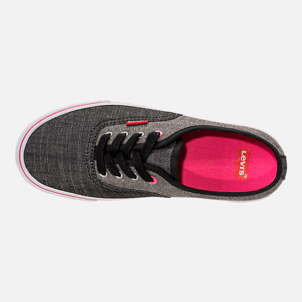 Top view of Girls' Preschool Levi's Monterey Chambray 2 Tone Casual Shoes in Black/Charcoal/Fuchsia