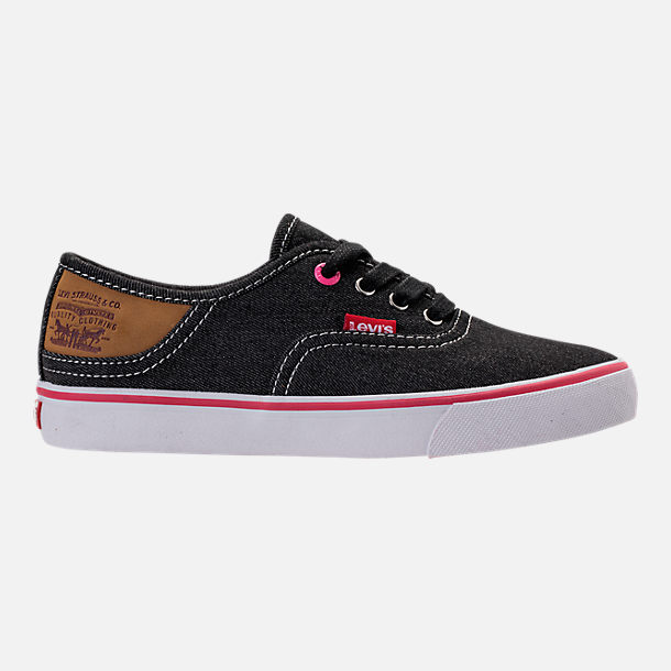 Right view of Girls' Preschool Levi's Monterey Denim Buck Casual Shoes in Black/Fuchsia