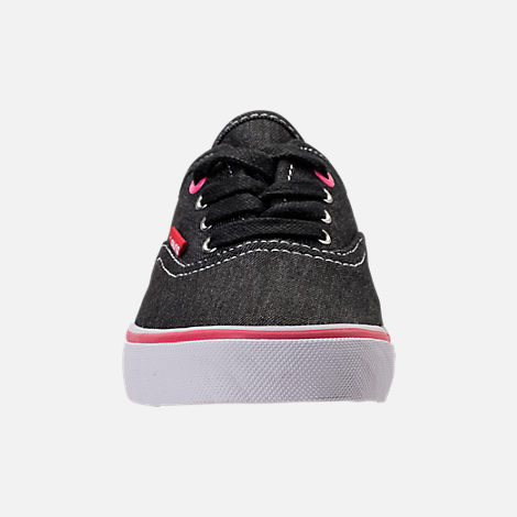 Front view of Girls' Preschool Levi's Monterey Denim Buck Casual Shoes in Black/Fuchsia