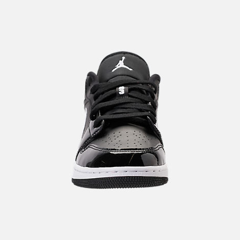Front view of Kids' Grade School Air Jordan 1 Low Basketball Shoes in Black/White/University Red