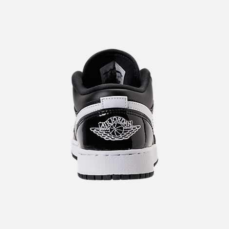 Back view of Kids' Grade School Air Jordan 1 Low Basketball Shoes in Black/White/University Red