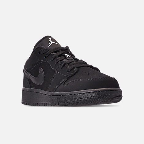 Three Quarter view of Big Kids' Air Jordan 1 Low Basketball Shoes in Black/White