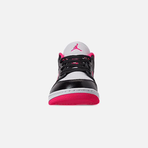 Front view of Girls' Big Kids' Air Jordan 1 Low (3.5y - 9.5y) Casual Shoes in Black/Hyper Pink/White