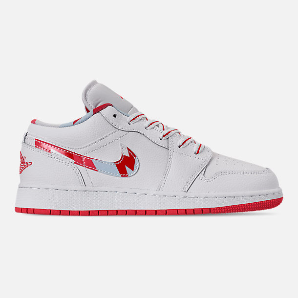 Right view of Girls' Big Kids' Air Jordan 1 Low (3.5y - 9.5y) Casual Shoes in White/Ember Glow/Topaz Mist