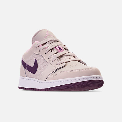 Three Quarter view of Girls' Big Kids' Air Jordan 1 Low (3.5y - 9.5y) Casual Shoes