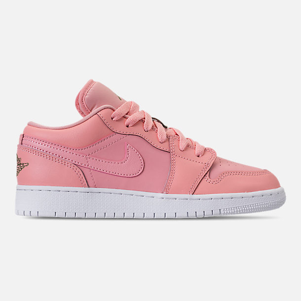 Right view of Girls' Grade School Air Jordan 1 Low (3.5y - 9.5y) Casual Shoes in Bleached Coral/Trooper/White/Black