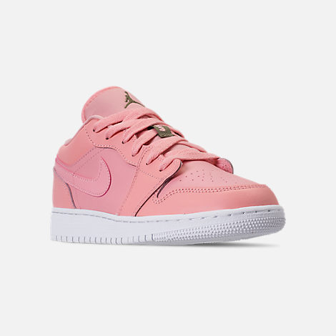 Three Quarter view of Girls' Grade School Air Jordan 1 Low (3.5y - 9.5y) Casual Shoes in Bleached Coral/Trooper/White/Black